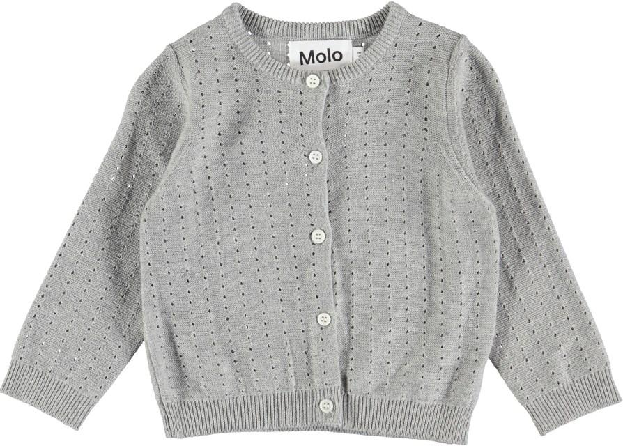 Ginny - Grey Melange - Stickad baby cardigan i grå bomull