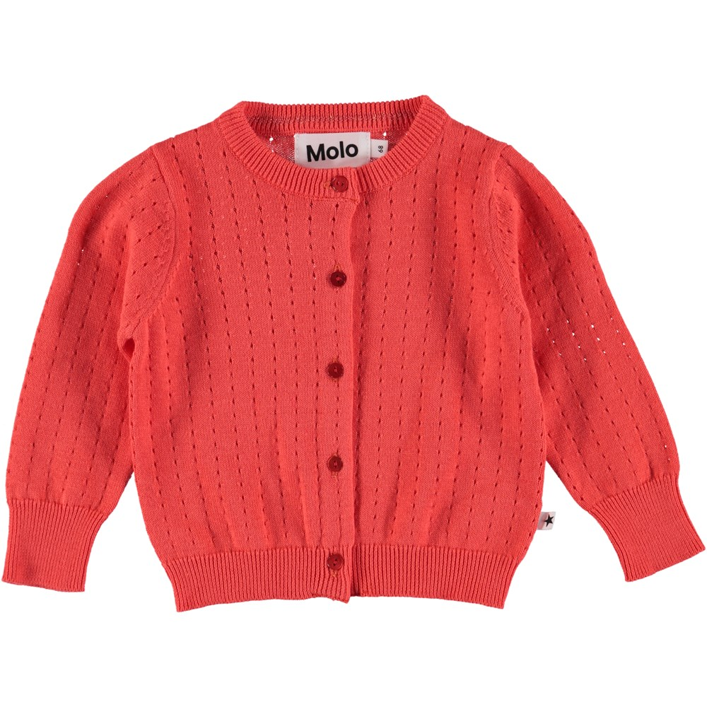 Ginny - Hot Coral - Baby Cardigan