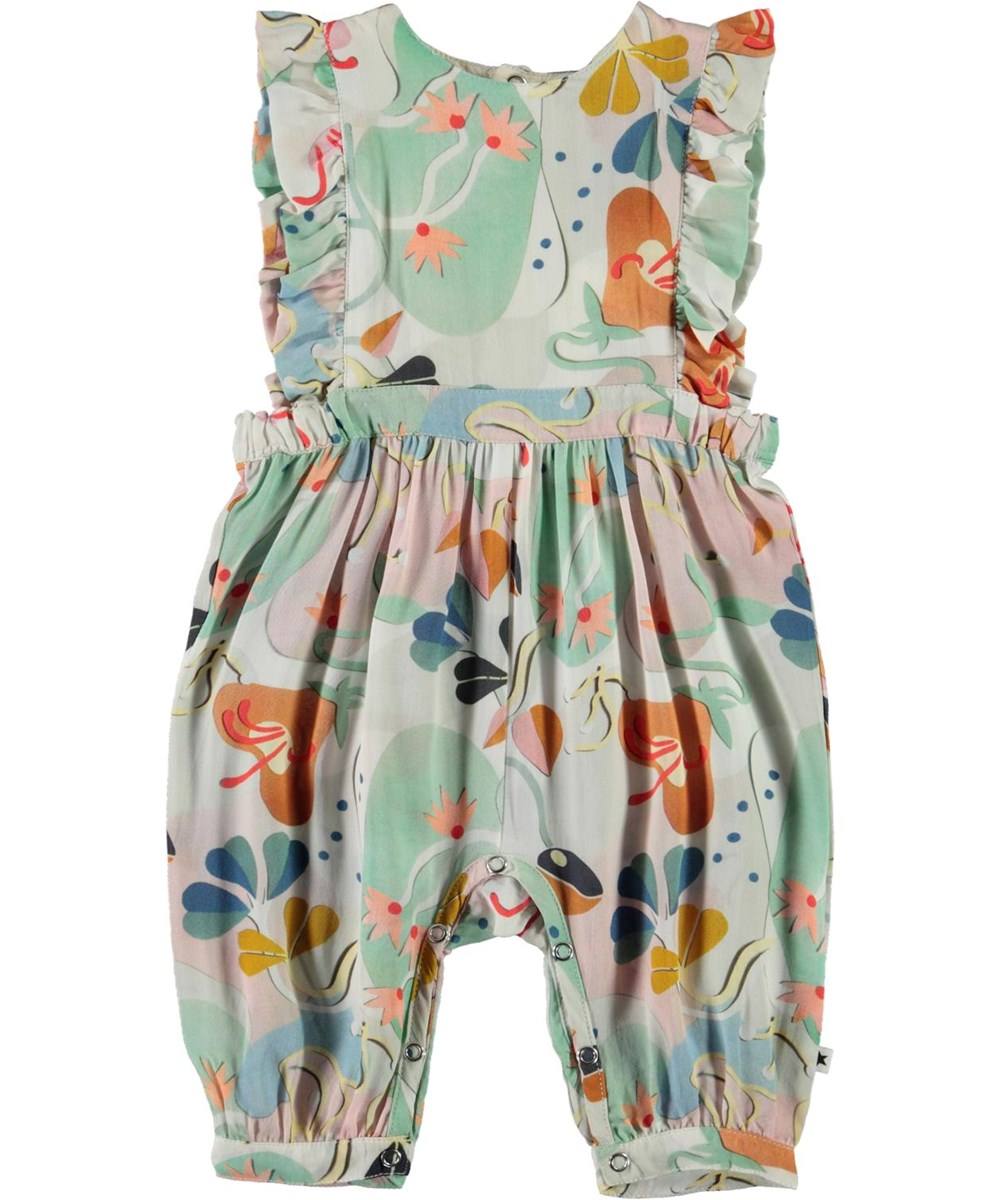 Fabia - Papercut Flowers - Pastel coloured baby romper with print