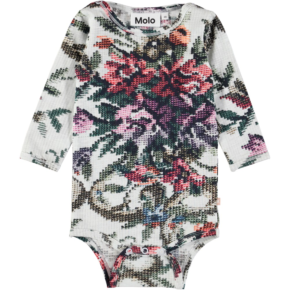 Fair - Cross Stitch - Long sleeve baby bodysuit with digital cross stitch print