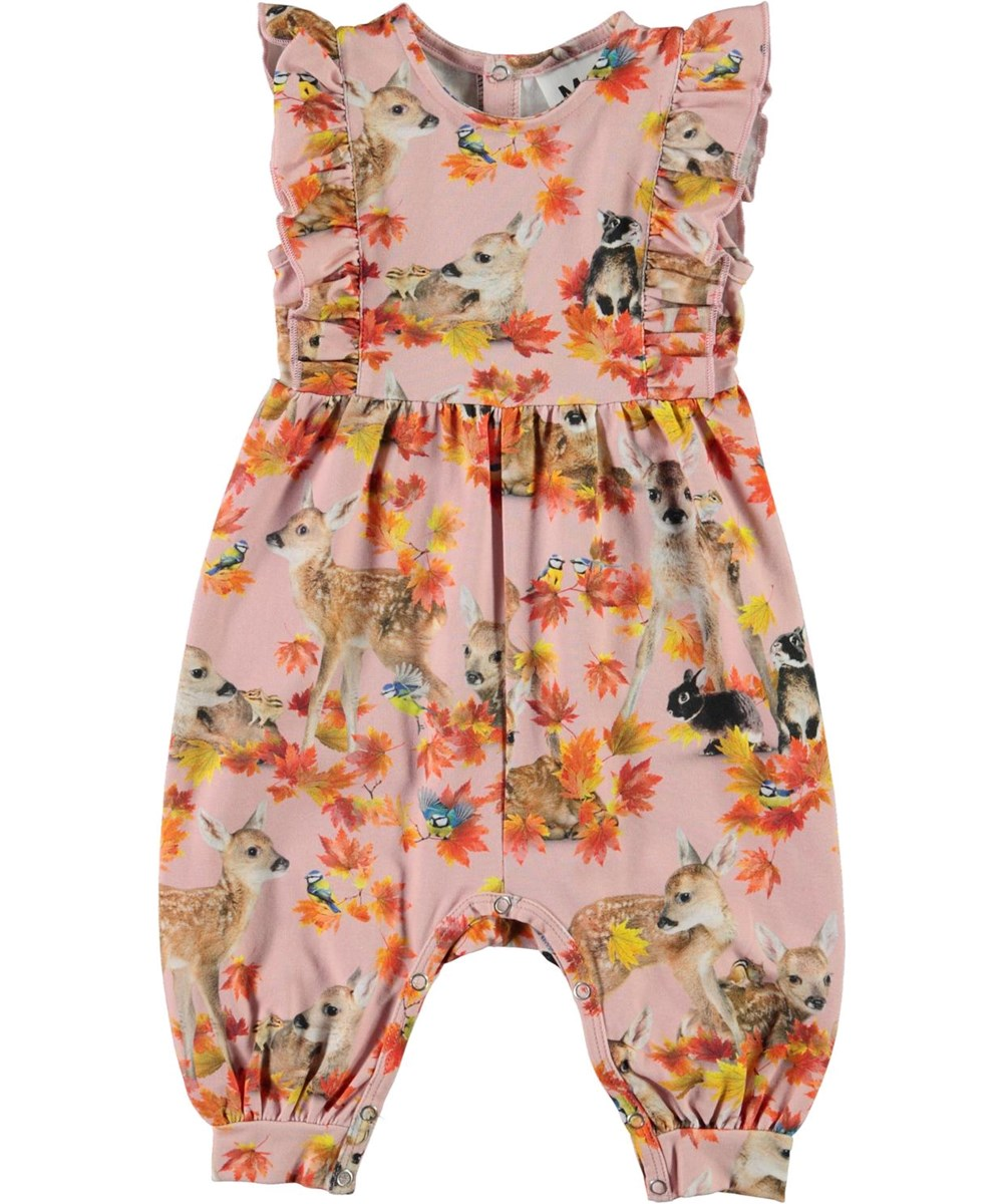 Fallon - Autumn Fawns - Pink organic baby romper with deer and rabbits