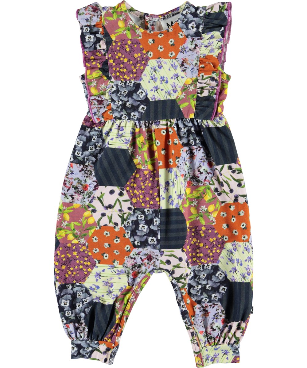 Fallon - Patchwork - Organic baby suit with patchwork