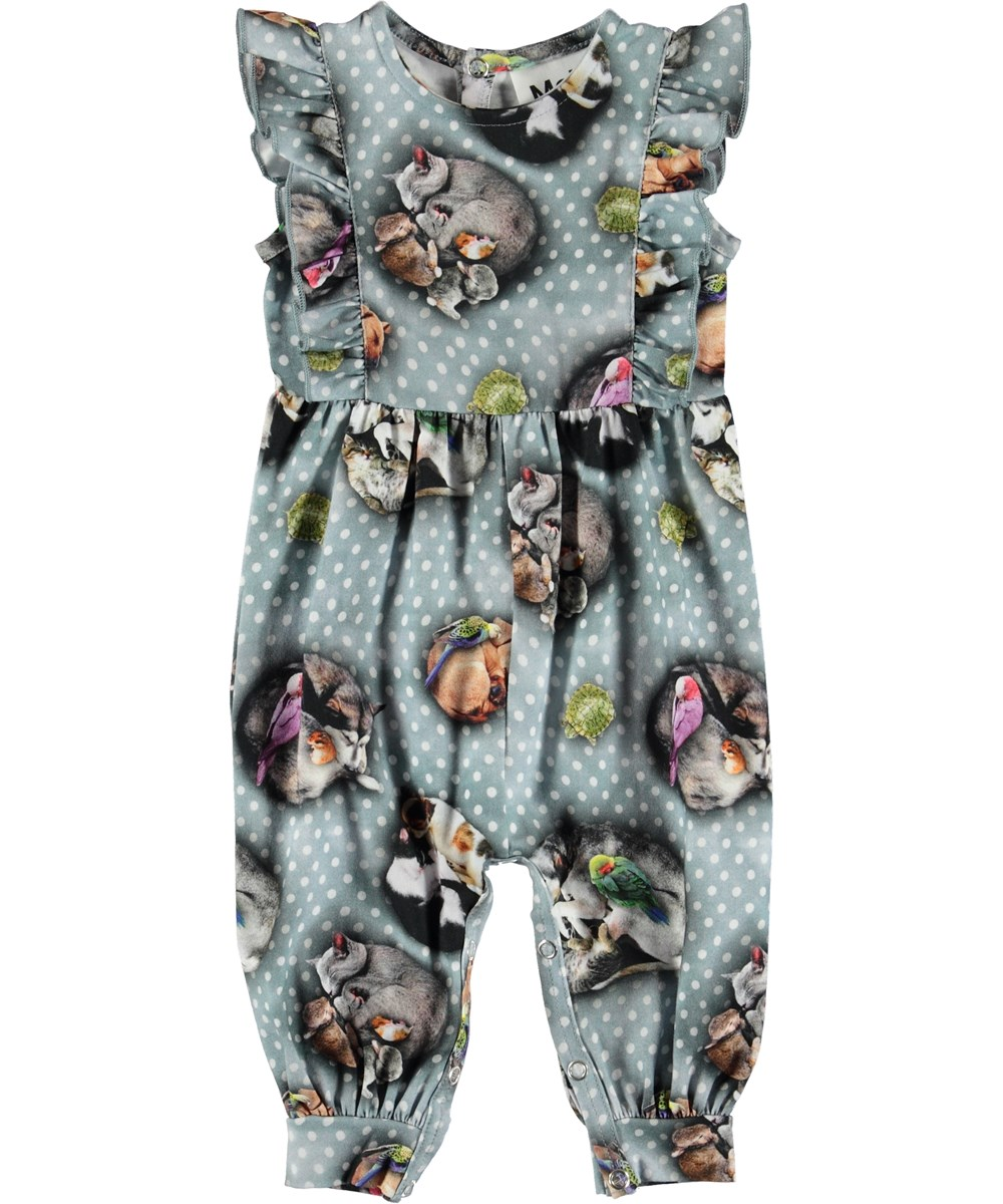 Fallon - Pets'n Dots - Baby romper with animals and dots.