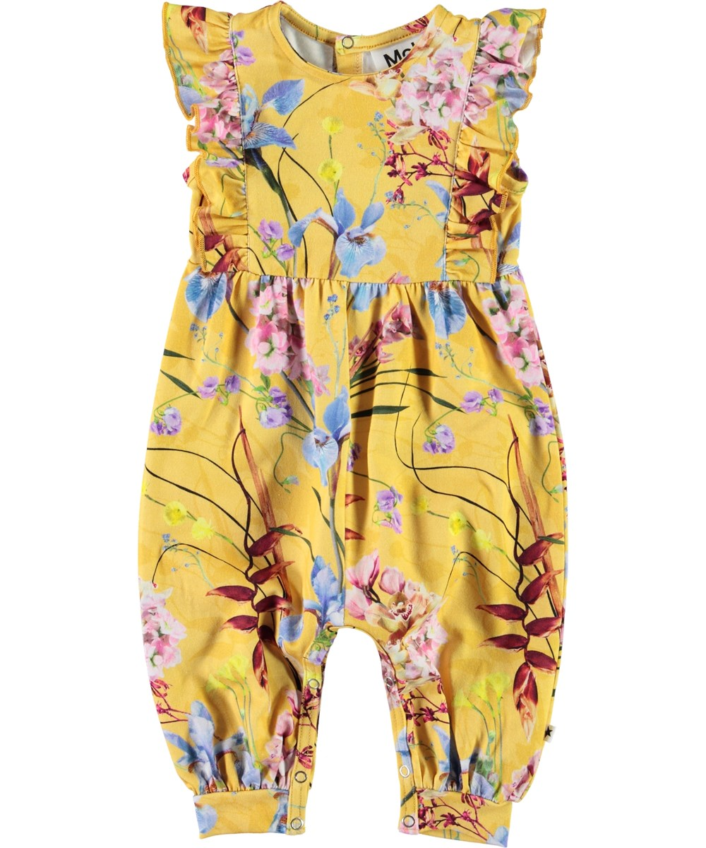 Fallon - The Art Of Flowers - Yellow baby romper with flowers