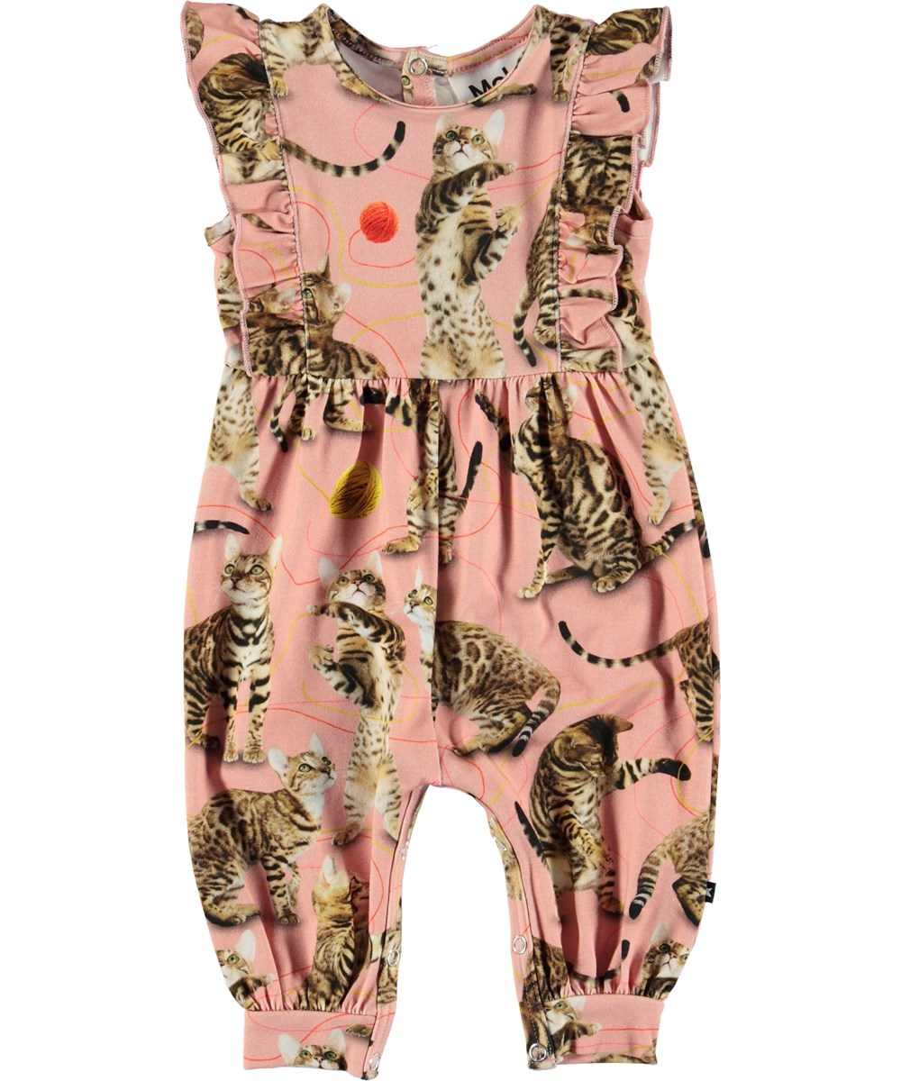 Fallon - Wannabe Leopard - Pink baby romper with cats.
