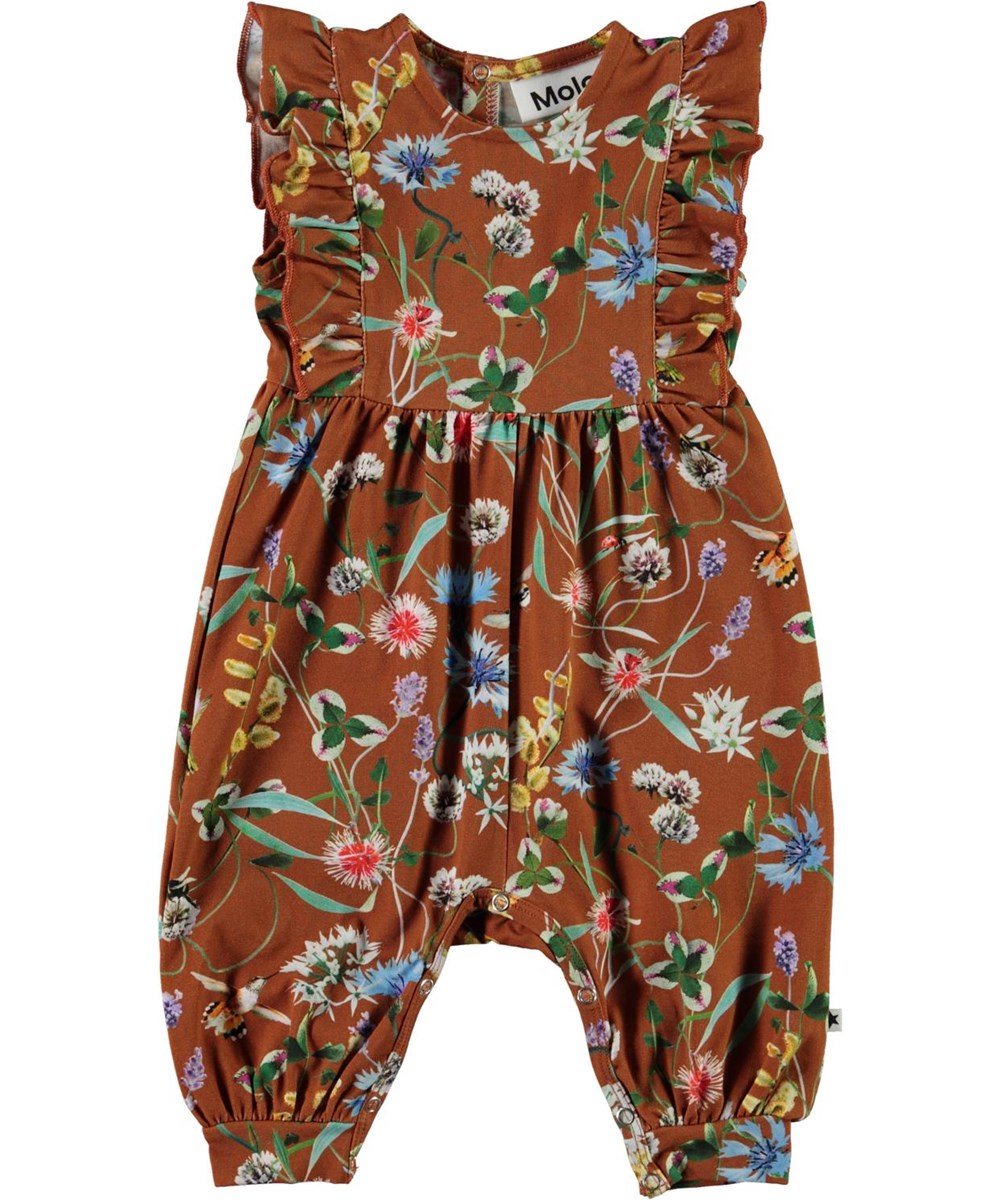 Fallon - Wildflowers - Brown organic baby romper with flowers