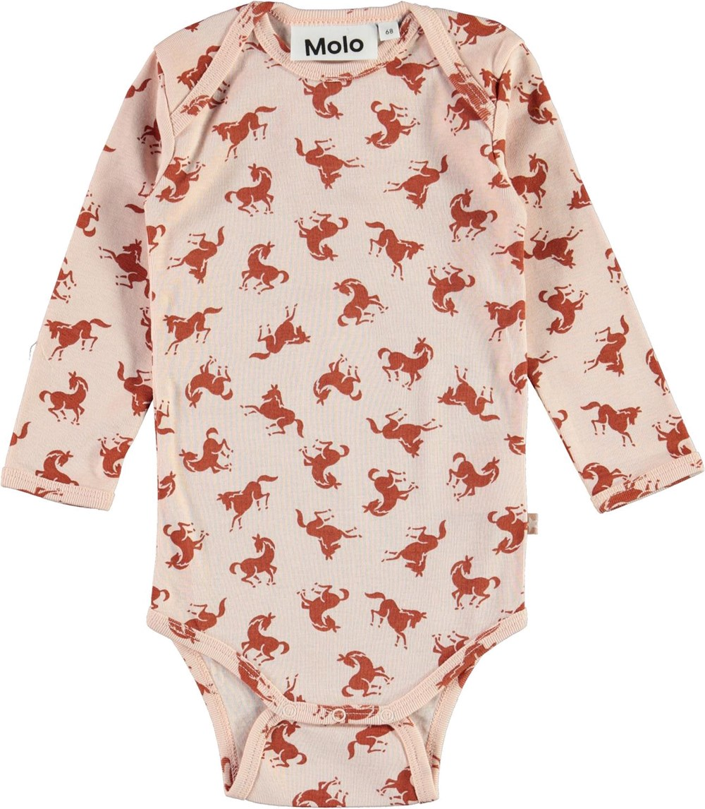 Faros - Mini Horse Jersey - Pink organic baby bodysuit with horses
