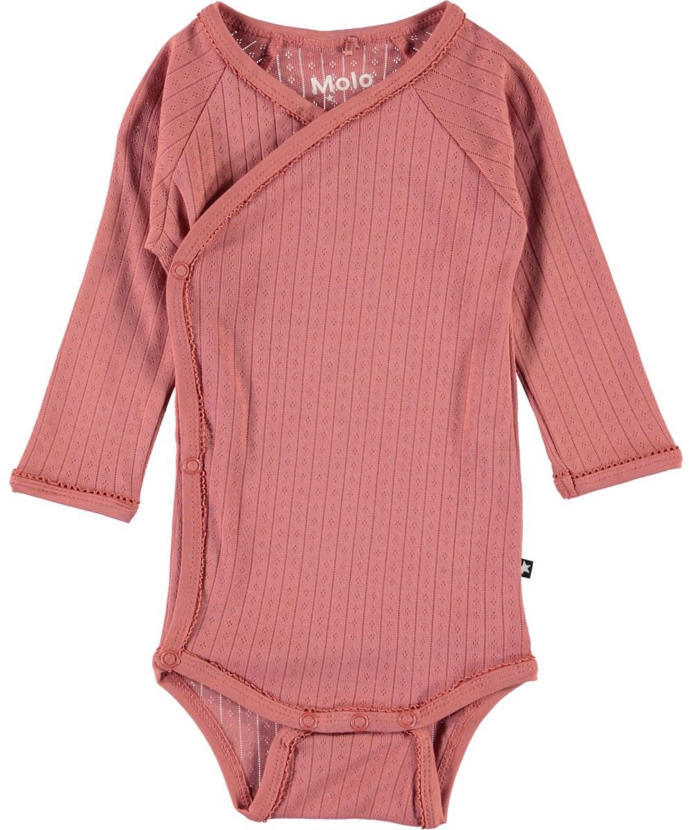 Faye - Desert Sand - Organic baby bodysuit in rose