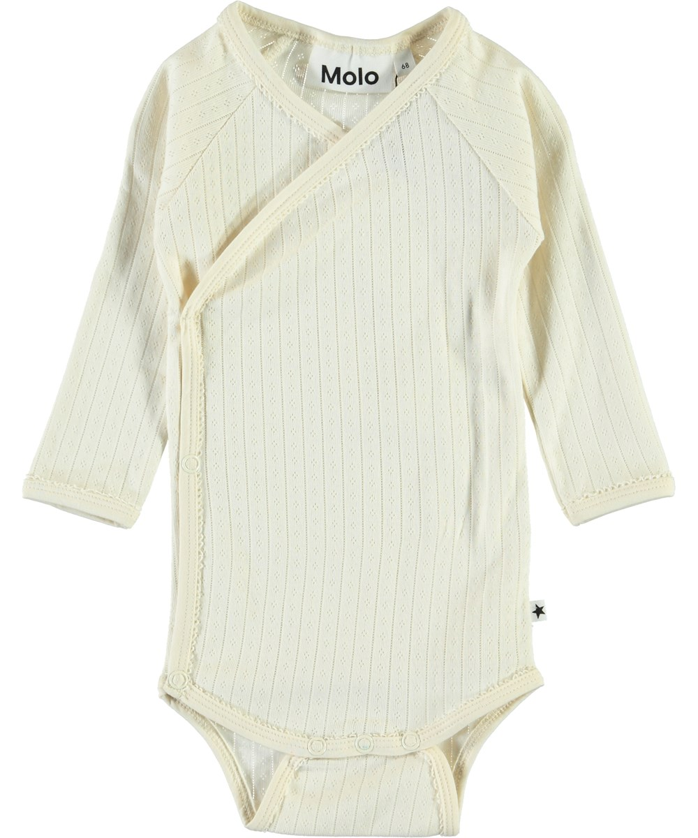 Faye - Pearled Ivory - Organic baby bodysuit with slanted closure