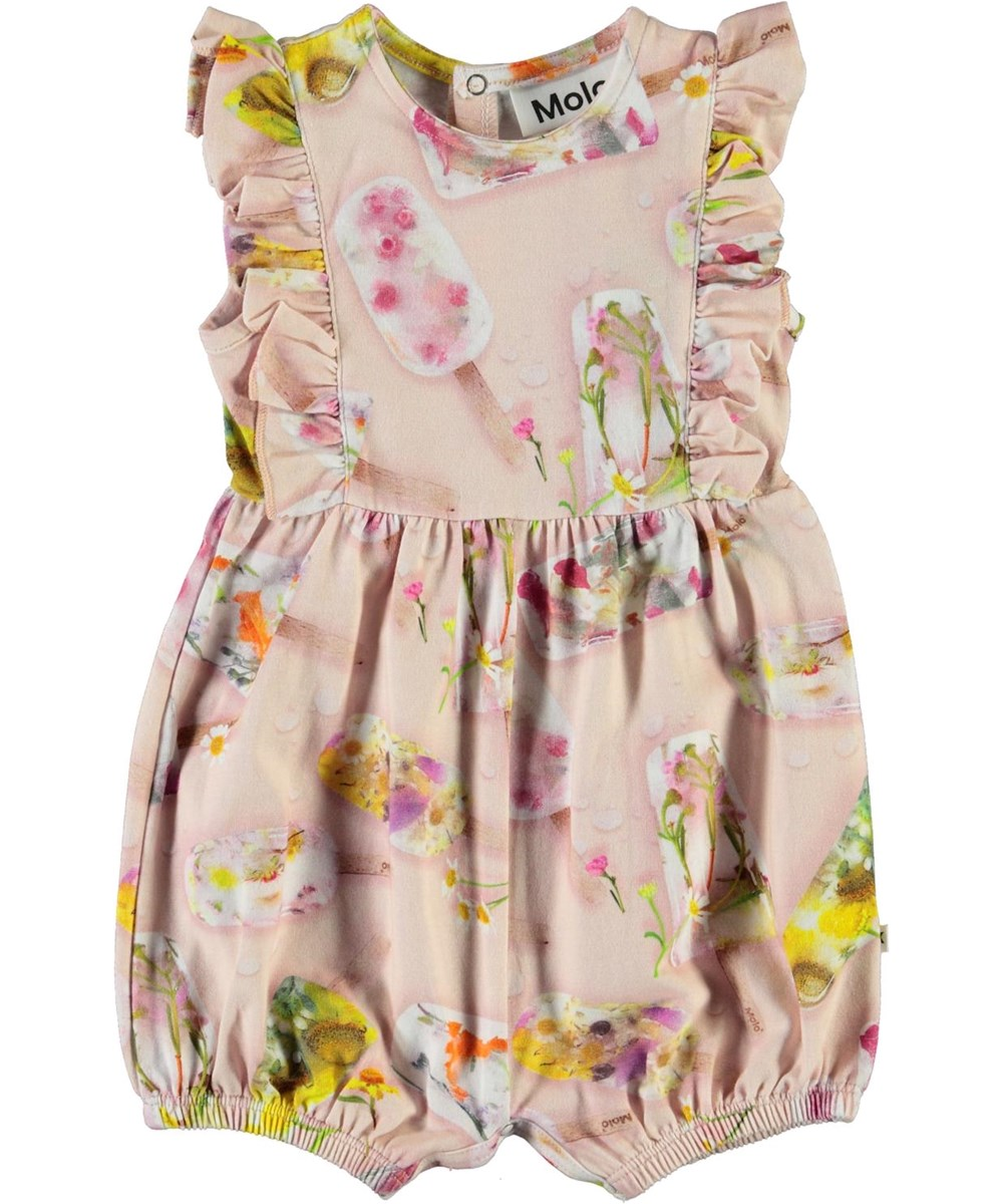 Felicia - Ice Lollies - Pink baby romper with ice cream print and ruffles