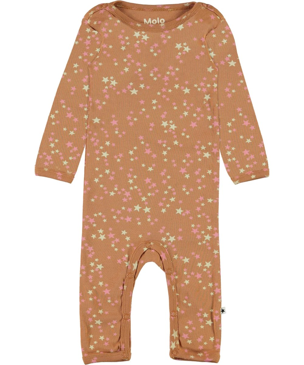 Fenez - Starry Deer - Organic baby bodysuit in brown with a star print