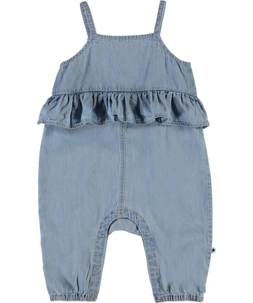 Feodora - Summer Wash Indigo - Blue denim baby romper with ruffle