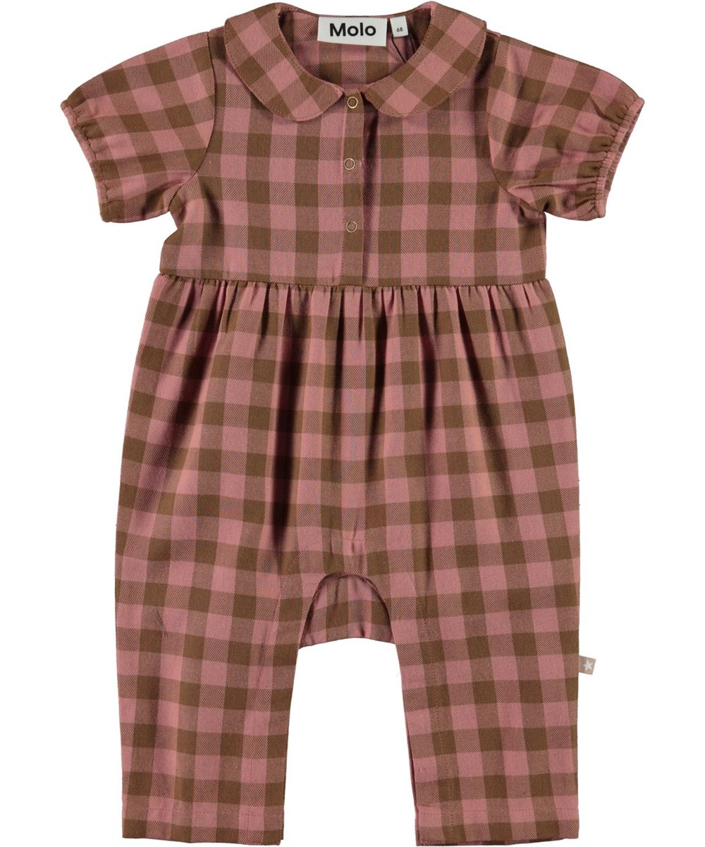 Fernanda - Autumn Check - Plaid baby romper in pink and brown