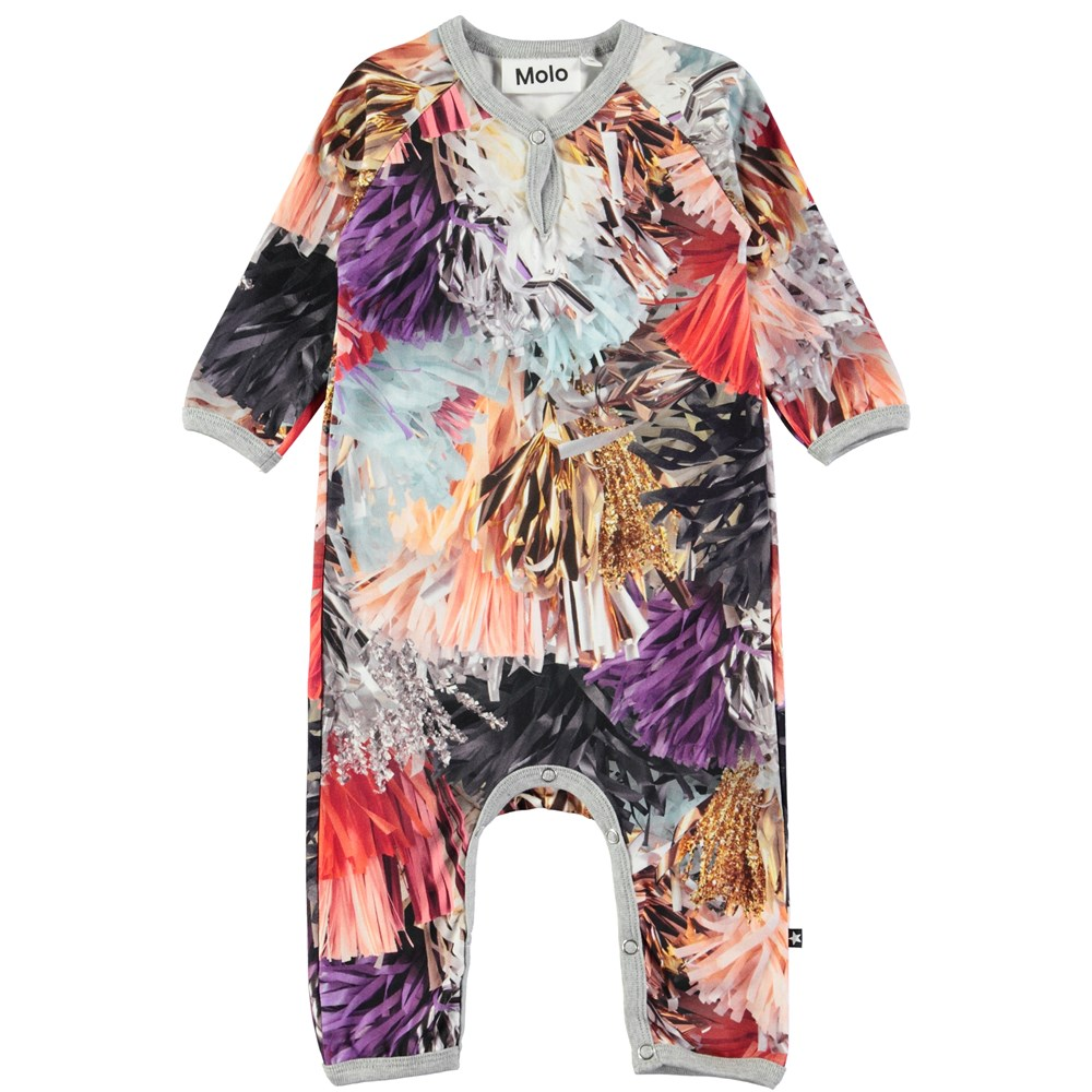 Fiona - Celebration - Long sleeve baby romper with digital print of festive tassles