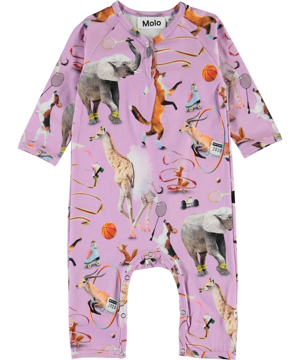 Fiona - Made For Motion - Purple organic baby romper