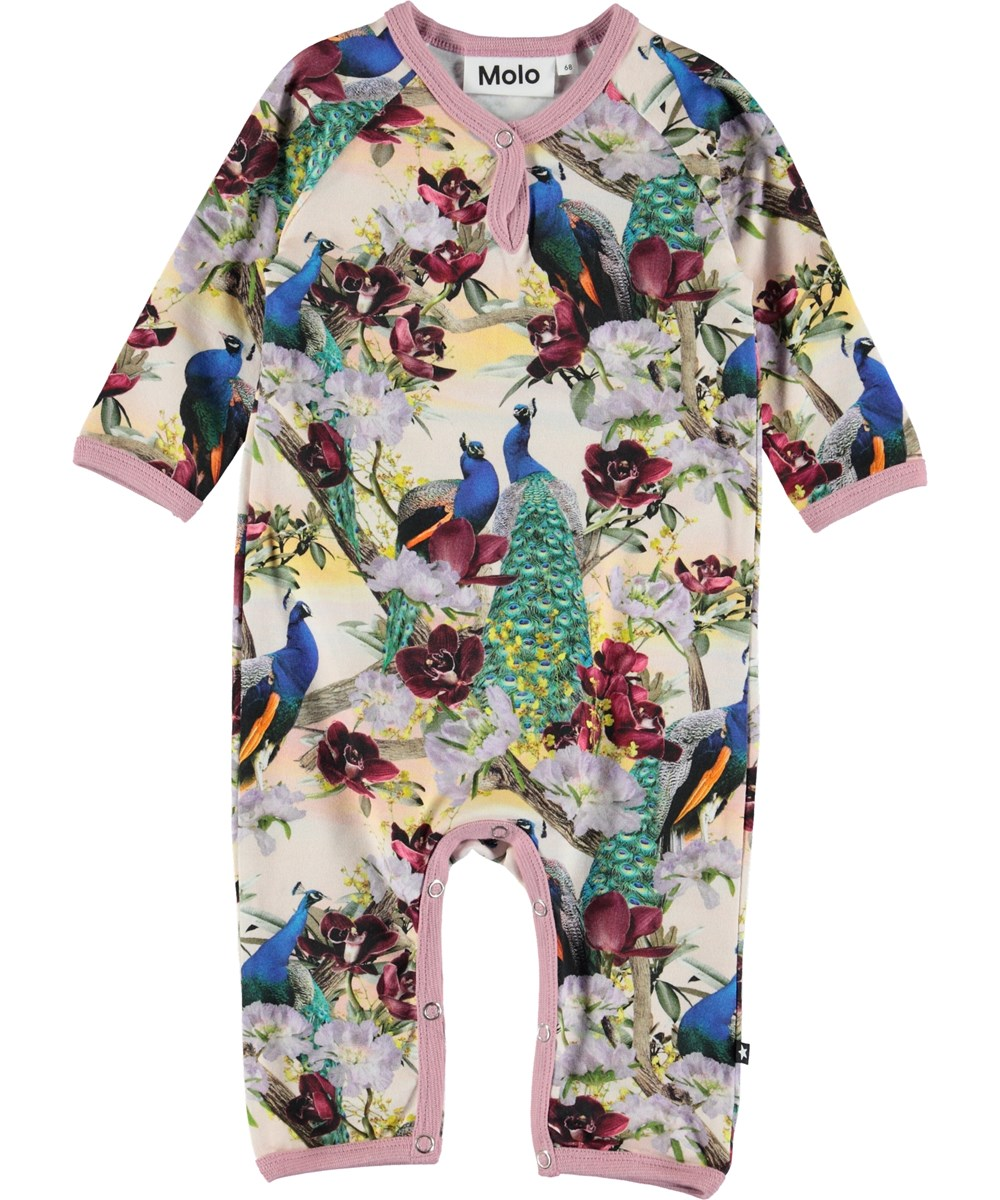 Fiona - Oriental Peacocks - Baby romper with peacocks.