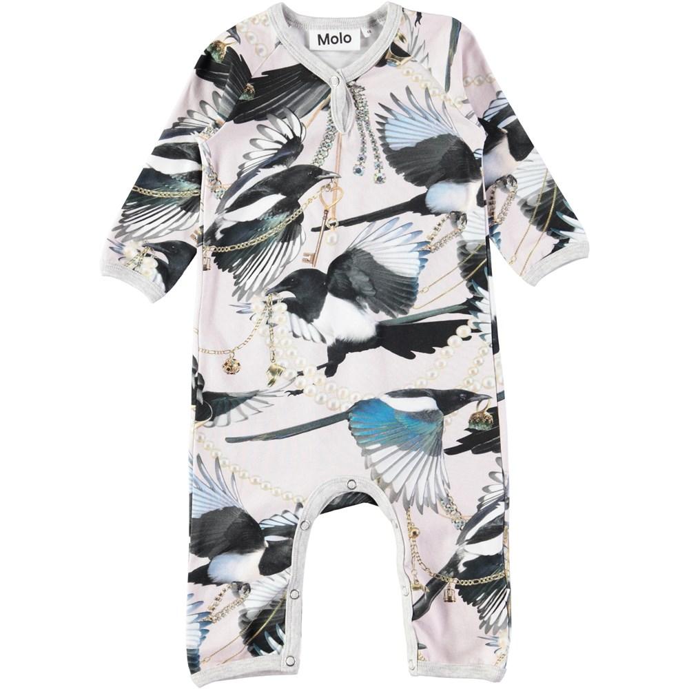 Fiona - Treasure Hunters - Long sleeve baby romper with digital magpie print