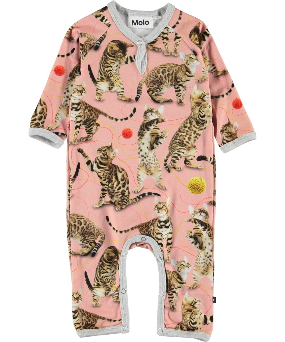 Fiona - Wannabe Leopard - Pink baby romper with cats.
