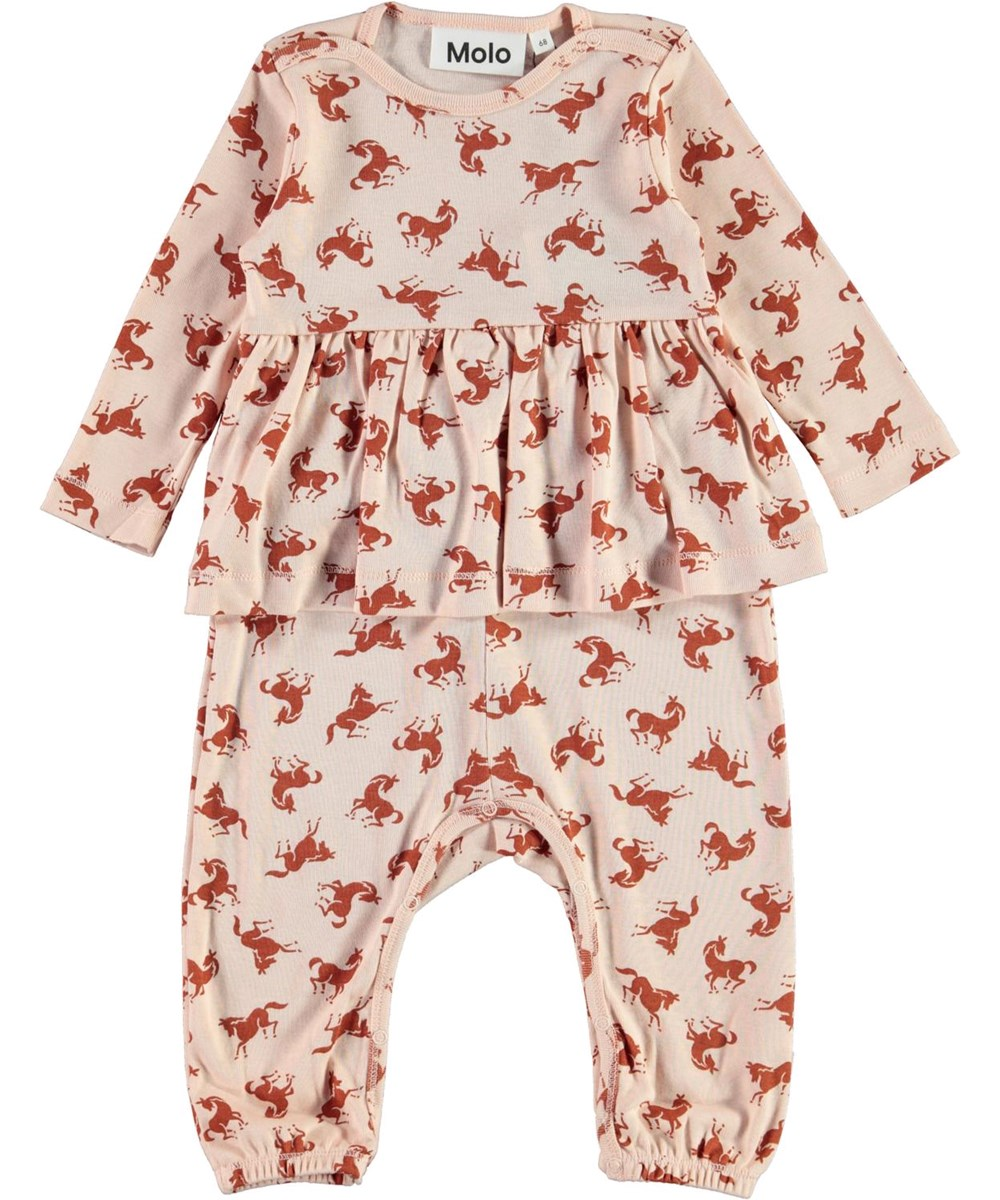 Flavia - Mini Horse Jersey - Pink organic baby   romper with horse print