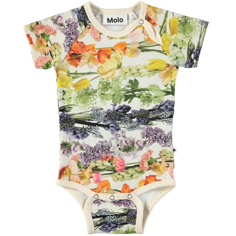 Fleur - Rainbow Bloom - Short sleeve baby bodysuit with digital flower print