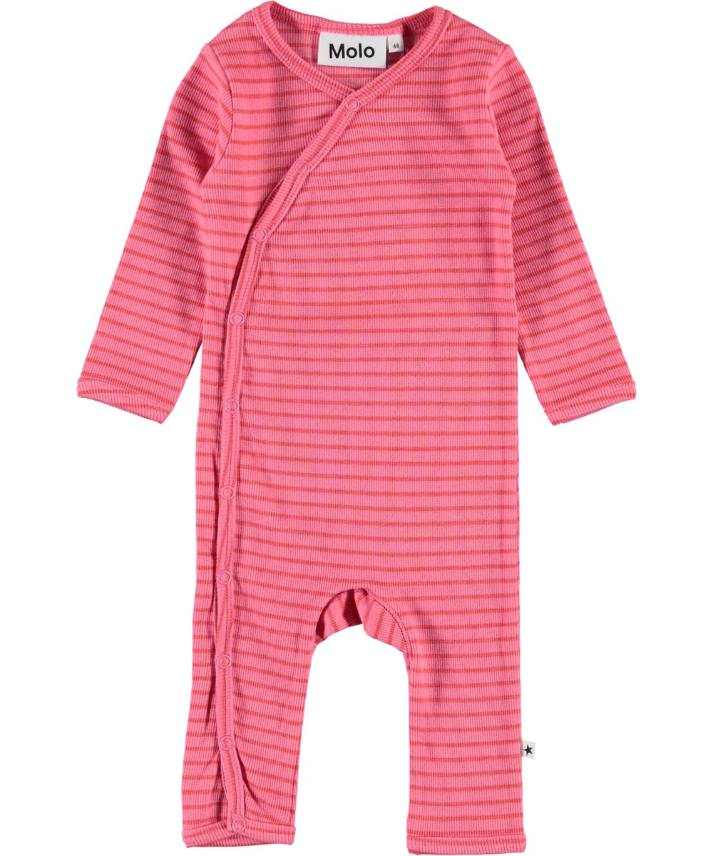 Flora - Pink Sienna Stripe - Baby romper with pink and red stripes
