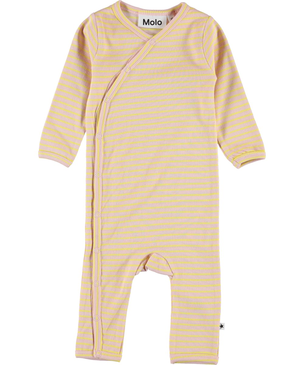 Flora - Powder Acacia Stripe - Baby romper with yellow and pink stripes