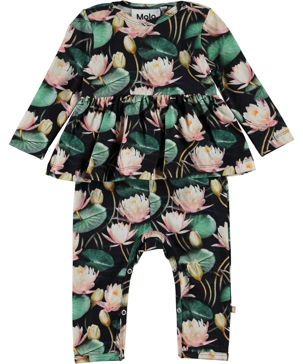 Florie - Water Lilies - Organic baby romper with water lilies and skirt