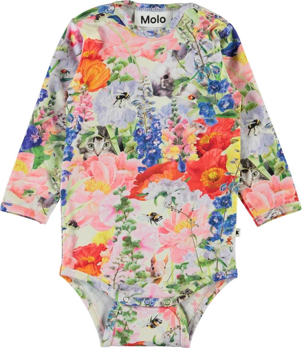 Fonda - Hide And Seek - Organic baby bodysuit with floral print