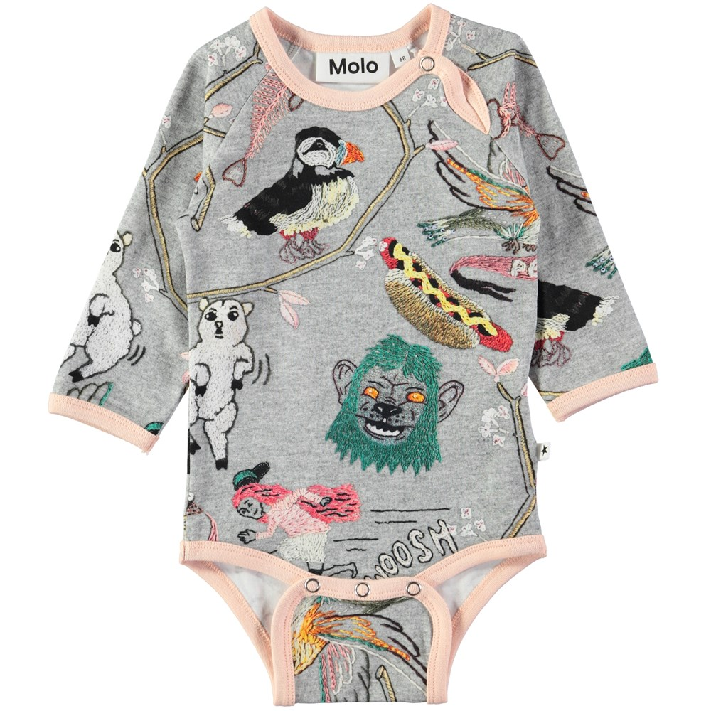 Fonda - Made By Hand - Long sleeve, grey baby bodysuit with digital embroidery print