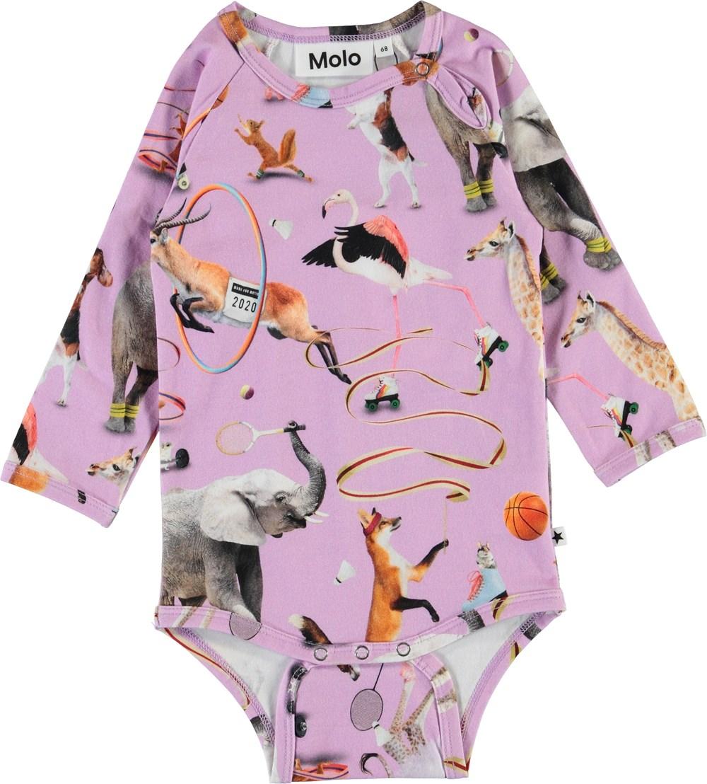 Fonda - Made For Motion - Purple organic bodysuit with animals