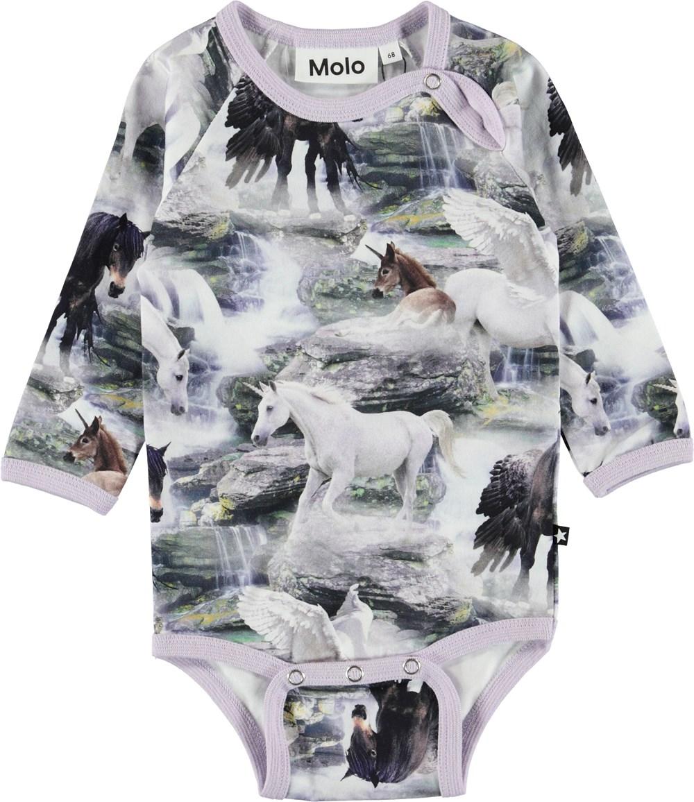 Fonda - Mythical Creatures - Baby bodysuit with horses and unicorns.