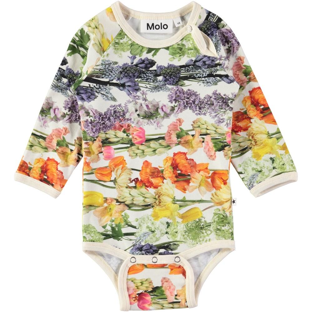 Fonda - Rainbow Bloom - Long sleeve baby bodysuit with digital flower print