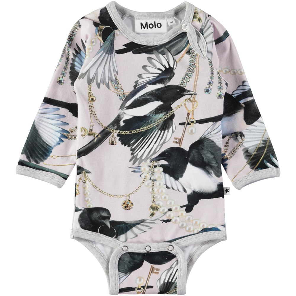 Fonda - Treasure Hunters - Long sleeve, pink baby bodysuit with a digital magpie print
