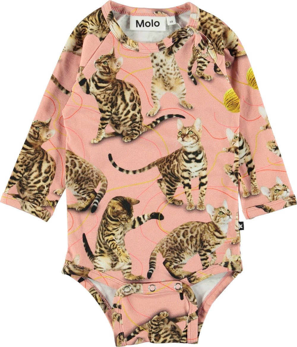 Fonda - Wannabe Leopard - Pink baby bodysuit with cats.