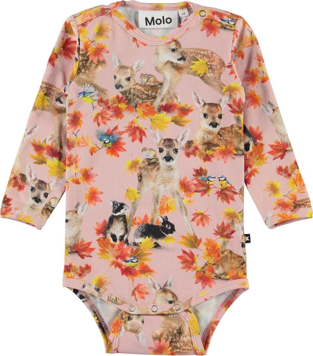 Foss - Autumn Fawns - Pink organic baby bodysuit with deer