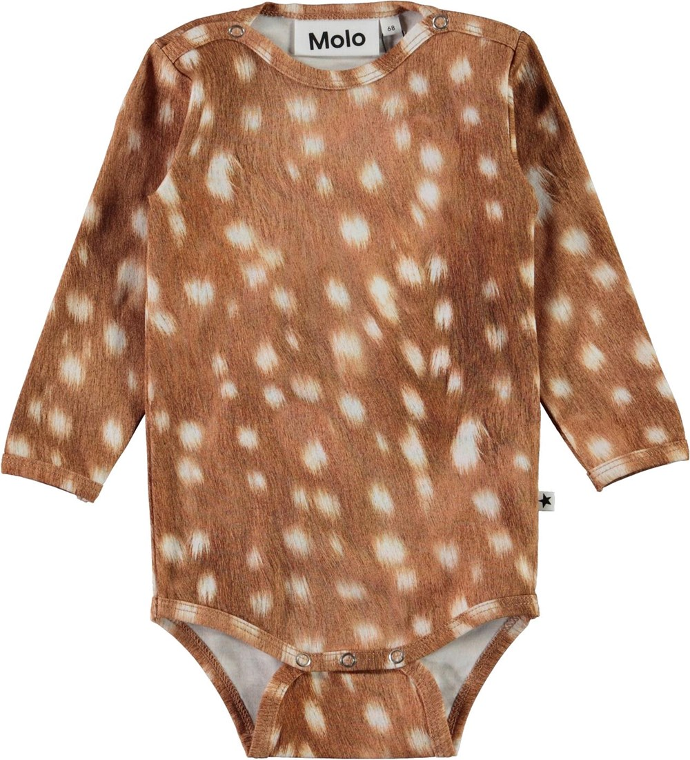 Foss - Baby Fawns - Brown organic baby bodysuit with white spots