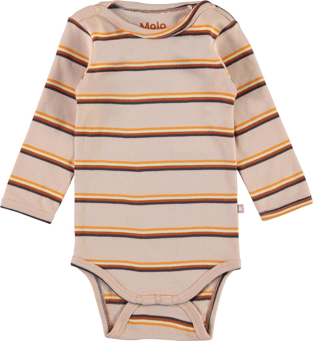 Foss - Cameo Stripe - Pink organic baby bodysuit with stripes