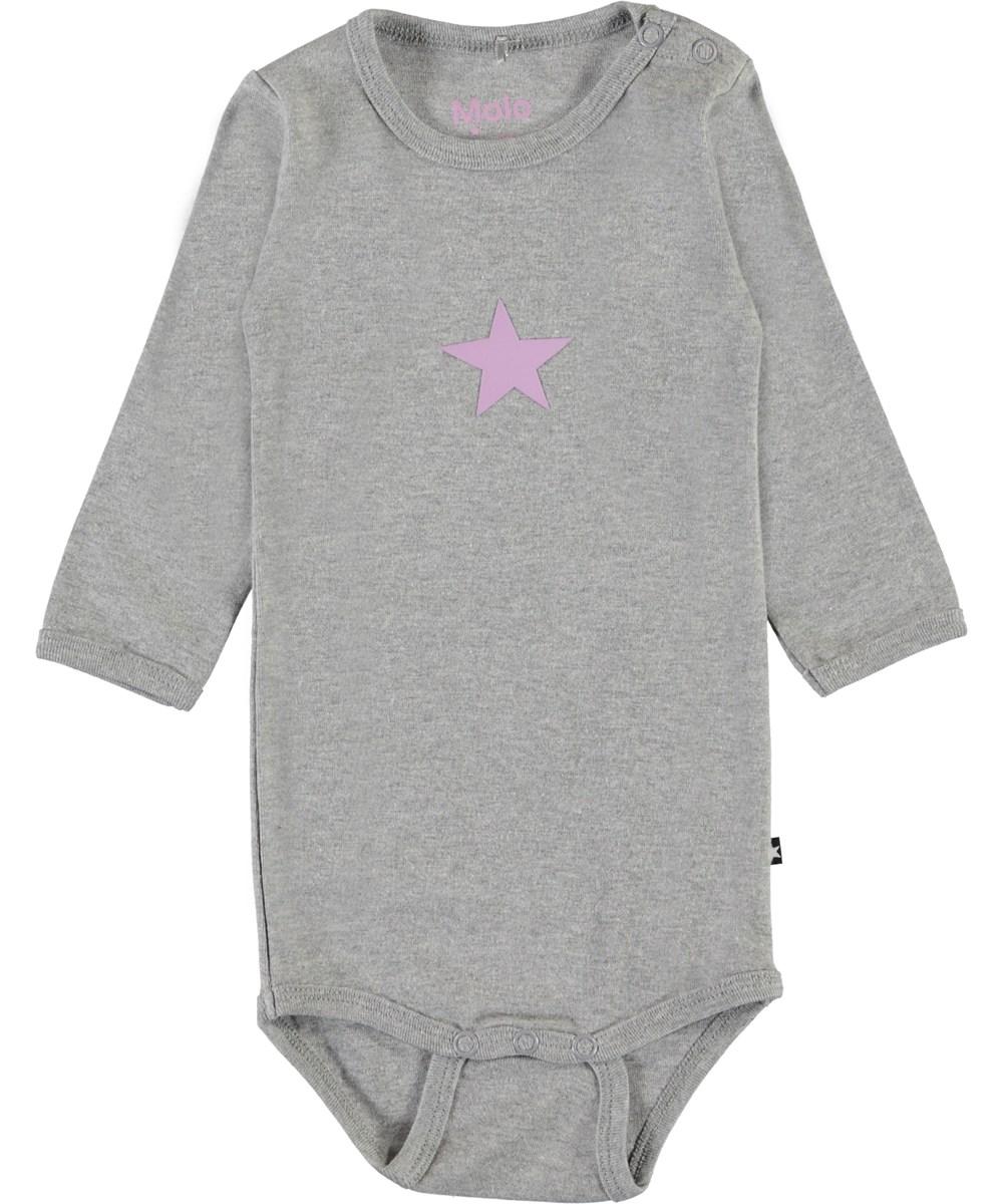 Foss - Grey Melange - Grey organic baby bodysuit