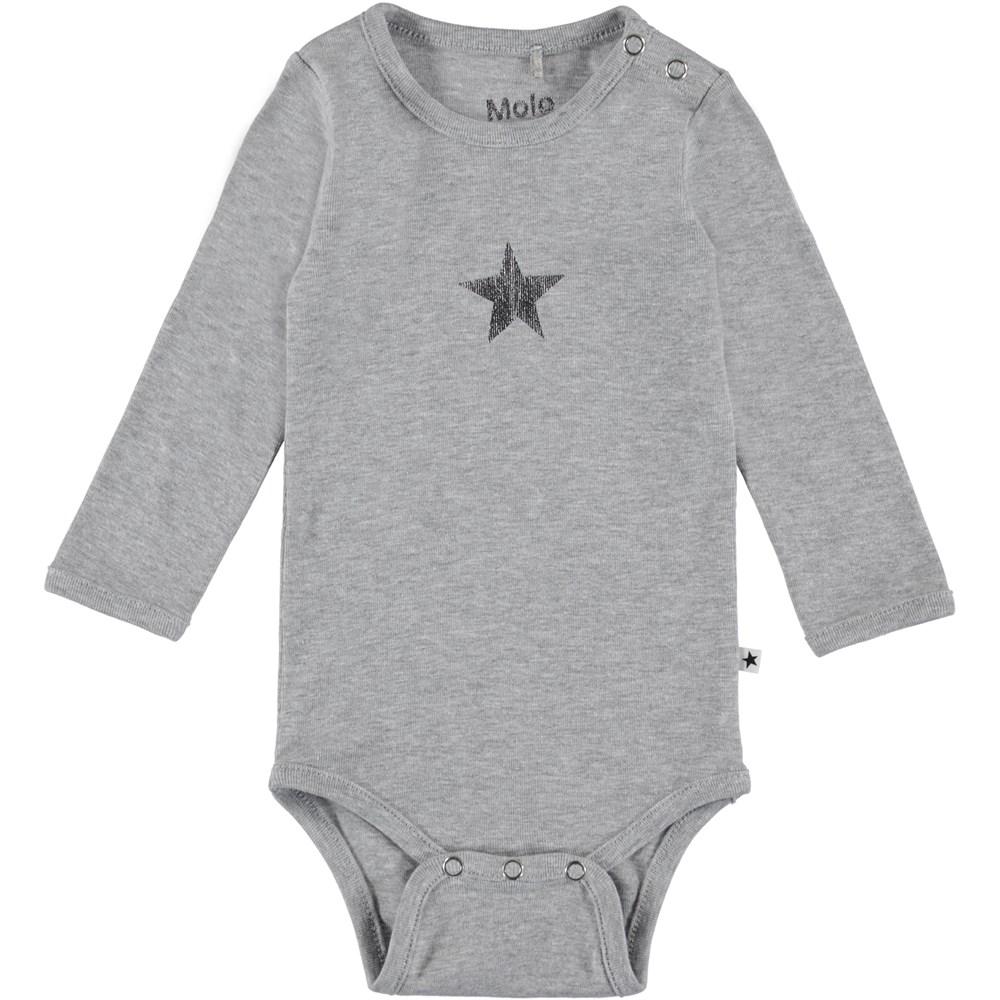 Foss - Light Grey Melange - Long sleeve baby bodysuit in grey.