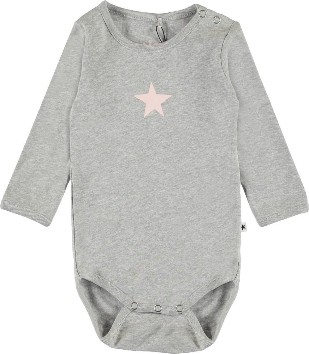 Foss - Light Grey Melange - Organic grey baby bodysuit