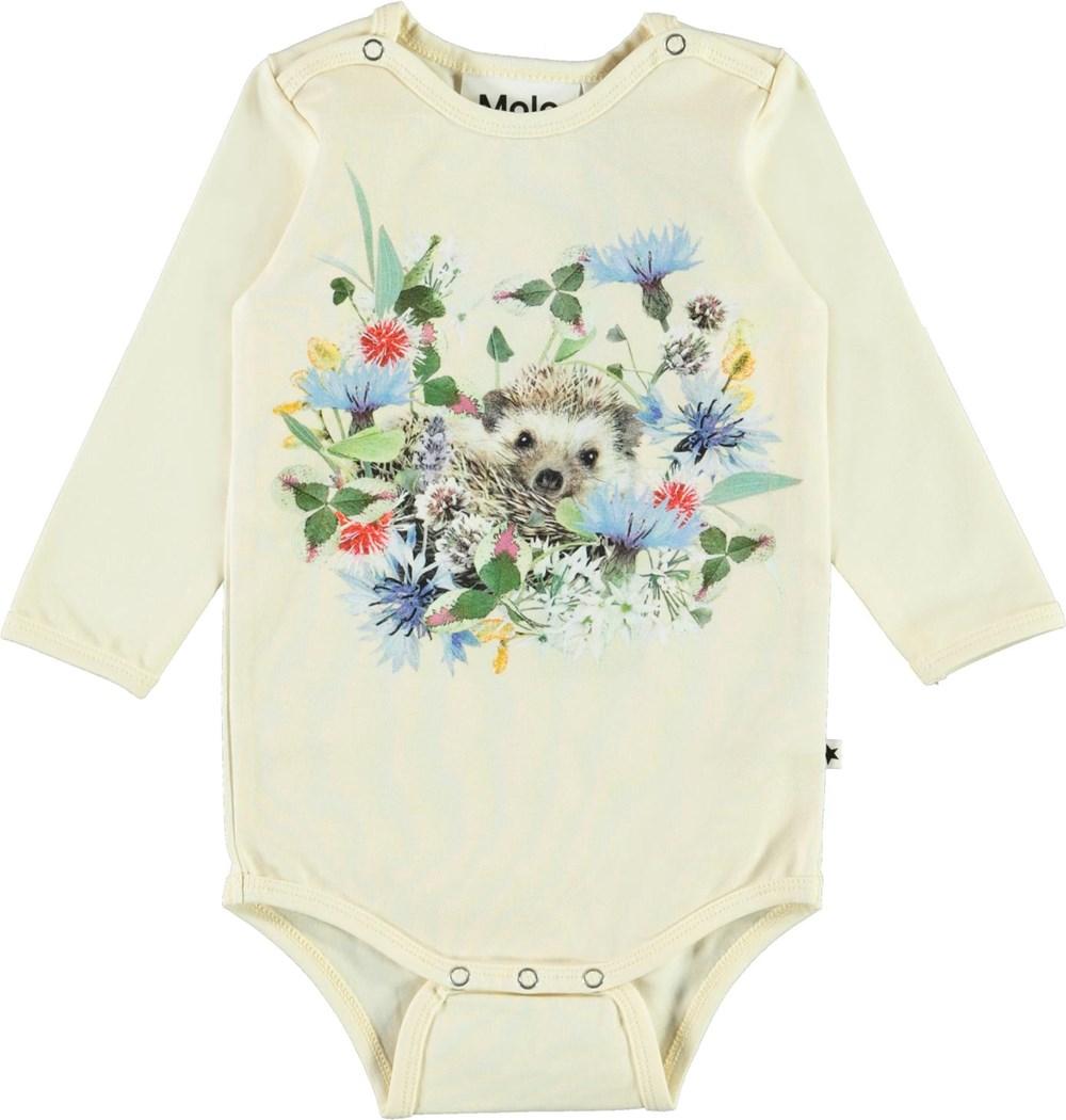 Foss - Mini Hedgehogs - Organic baby bodysuit with hedgehogs print