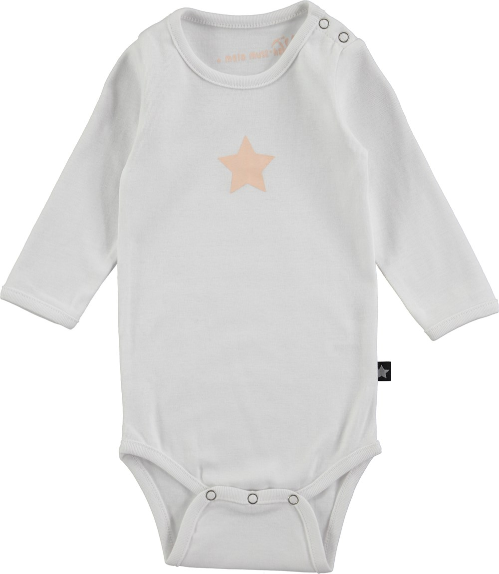 Foss - Bright White - long sleeve, white baby body stocking with stars