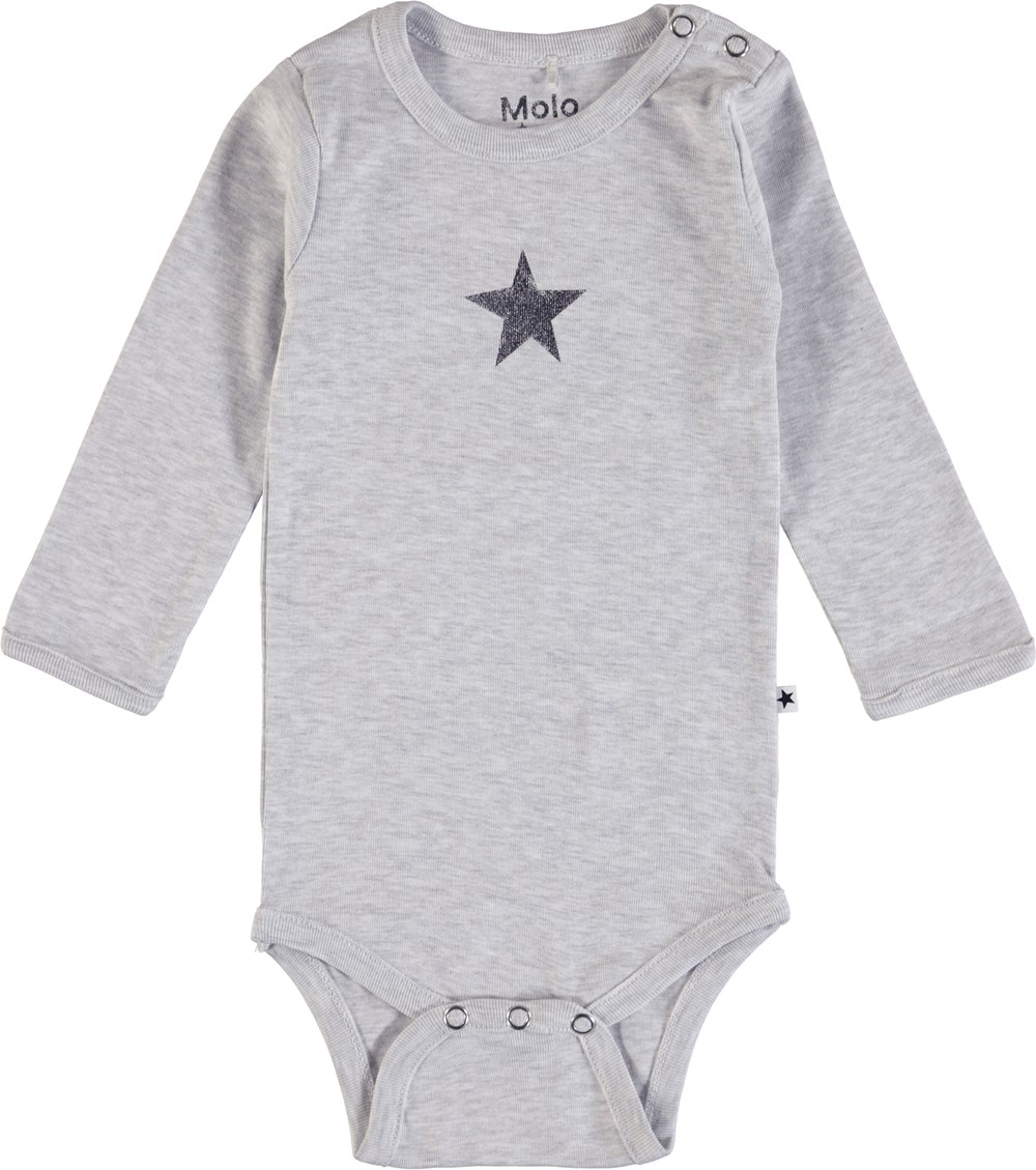Foss - Snow Melange - Long sleeve grey bodysuit with printed star