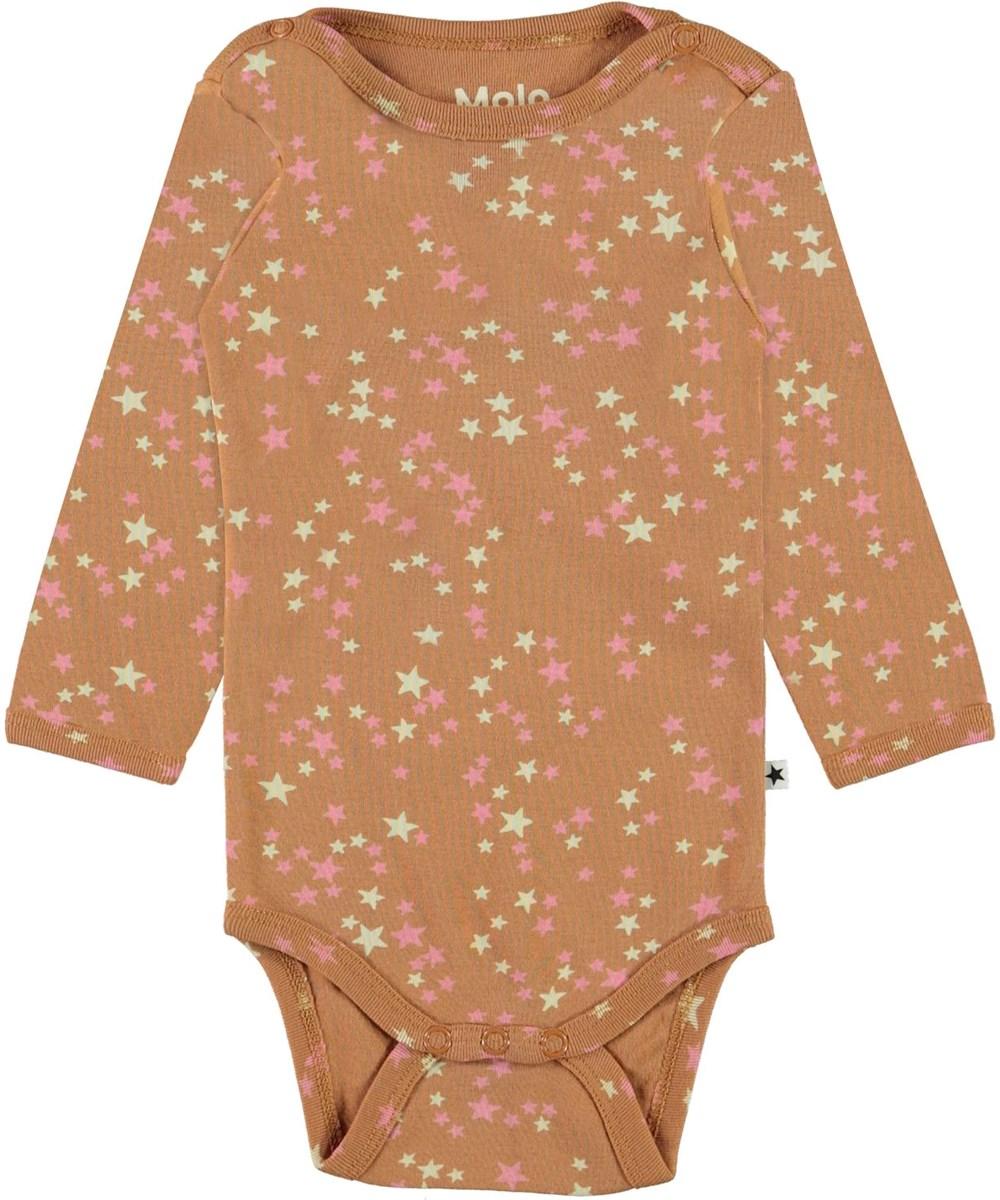 Foss - Starry Deer - Brown organic baby bodysuit with stars