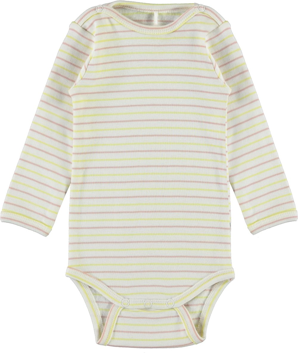 Foss - Striped Blush - Organic baby bodysuit with stripes