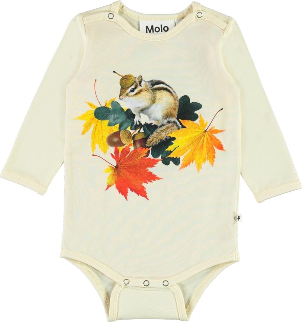 Foss - Tiny Chipmunks - Light yellow organic baby bodysuit with squirrel print