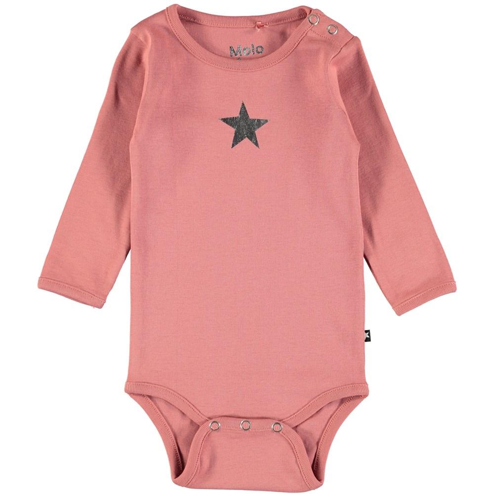 Foss - Blush - Long sleeve baby bodysuit in dark rose with printed star