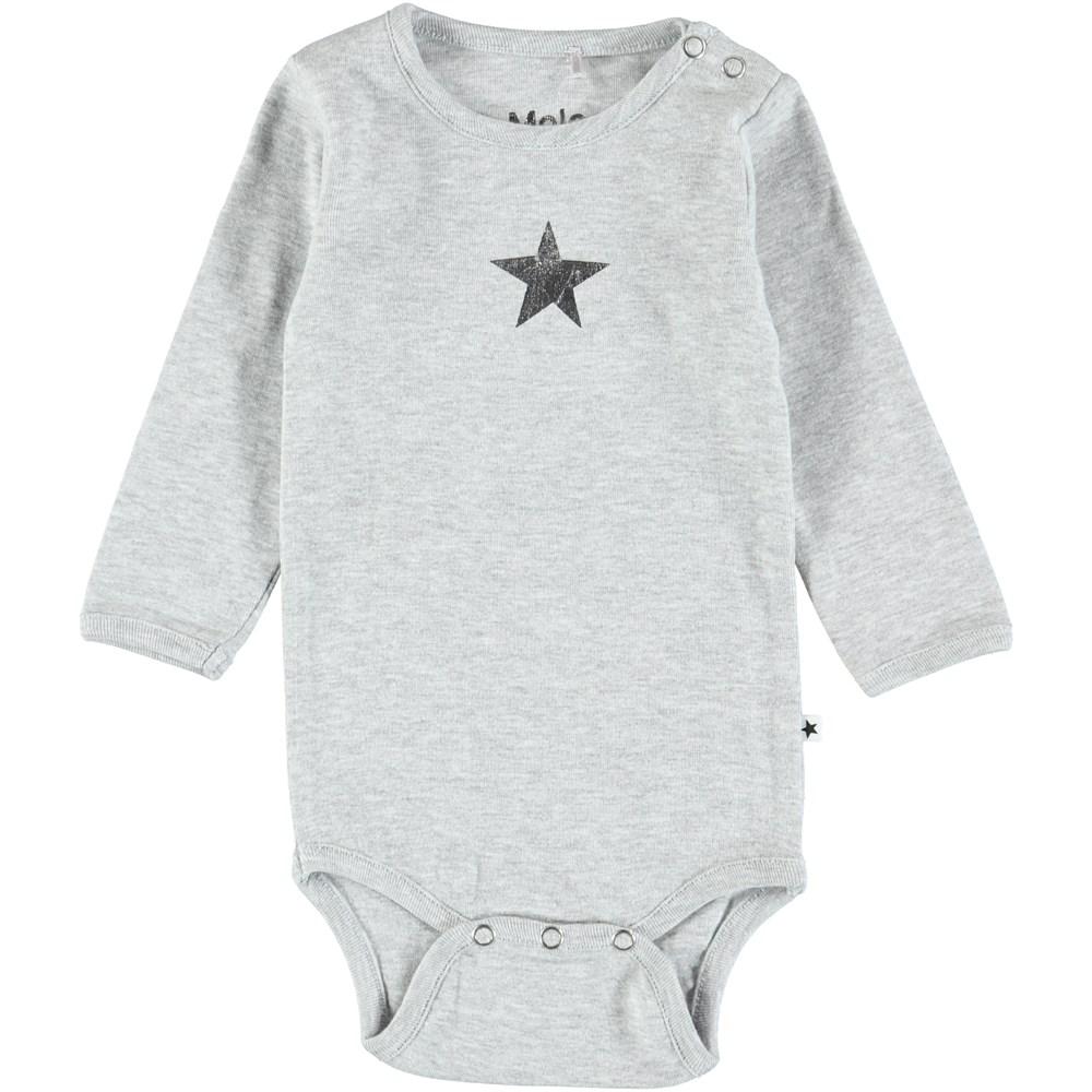 Foss - Light Grey Melange - Long sleeve,  light grey baby bodysuit with a printed star