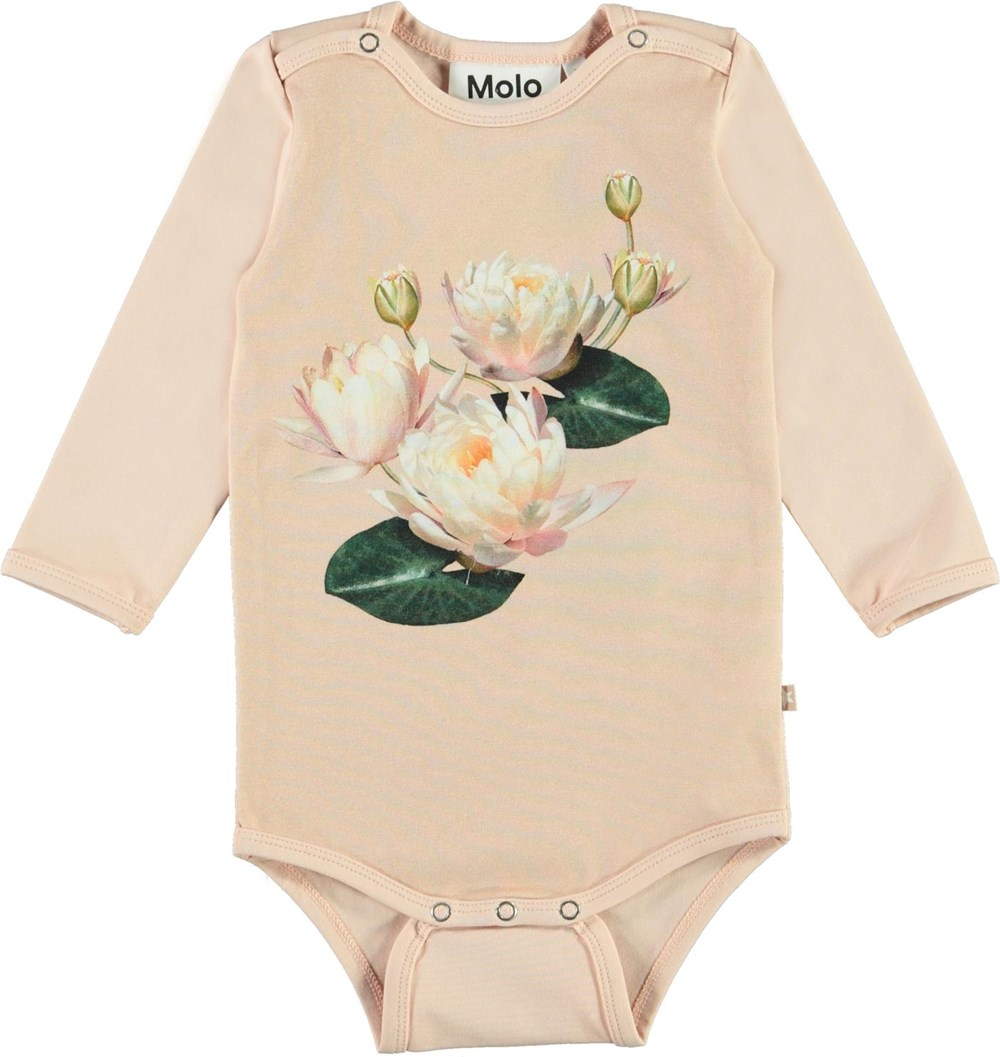 Foss - Water Lily Baby - Pink organic baby bodysuit with water lily print