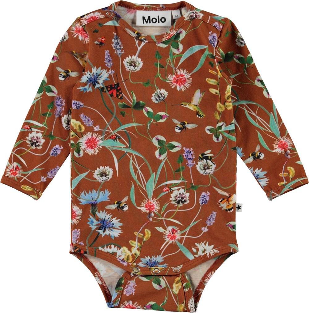 Foss - Wildflowers - Brown organic baby bodysuit with flowers